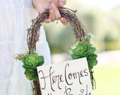 Flower Girl Basket Succulents Grapevines Rustic Chic Wedding Here Comes The Bride Sign  (Item Number MMHDSR10011 )