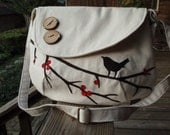 Custom Order for Michelle /Singing Bird on a Branch with Red Berries Tote/ Water Repellent canvas /Bag /messenger / Purse /