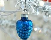 Christmas Photograph, Vintage Blue Pinecone Ornament Photo, Digital Download, Printable Art, Do It Yourself Art, Seasonal Photography