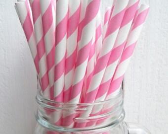 25 Bubblegum Pink and White Striped Paper Straws