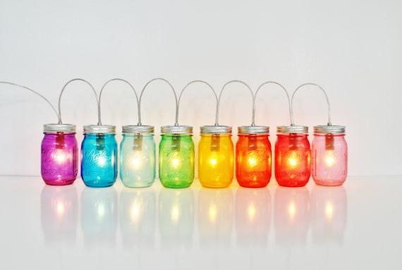 Rainbow Mason Jar Party Lights, String of Mason Jar Lights, BootsNGus Mason Jar Lighting Fixture in Rainbow Colors, Bulbs Included