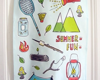 Dish Towel // Tea Towel // Summer Fun // Camping // Outdoors // Illustration // Whimsical // Blue // Adventure // Explore // Housewares