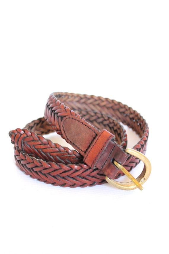 vintage braided leather belt brown by paisleyfacevintage