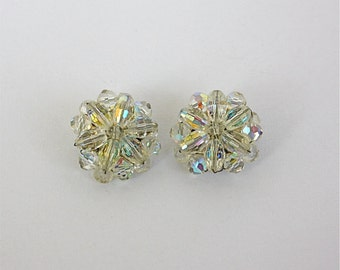 Vintage 50s Formal Bead Earrings AB Crystal Hand Wired w Silver Clip Backs