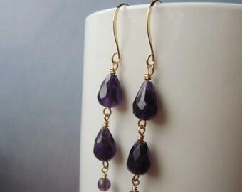 Amethyst gemstone, dangle earrings, gold plated. 4 cm / 1.57'' in
