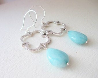 Stunning Blue Larimar and Clover Dangle Earrings - As Seen on TV - The Hart of Dixie