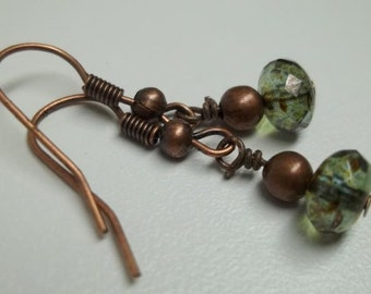 Laurel green AB earrings Antiqued copper Czech Glass Faceted Fire-Polished Rondelle