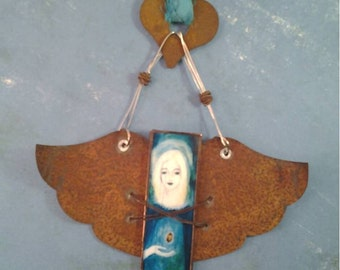 Rustic Angel #2 ornament -- stained glass and rusted metal wings