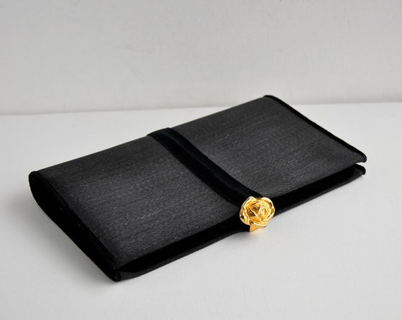 50s 60s Vintage Classic Black Evening Clutch Formal Purse Bienen Davis Rose Clasp