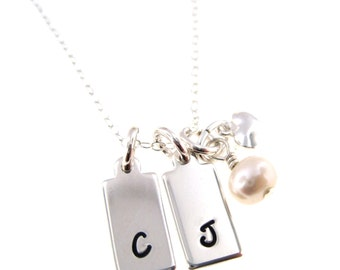 Simple and Elegant Personalized Initials Necklace - Sterling Silver Hand Stamped Jewelry By Hannah Design