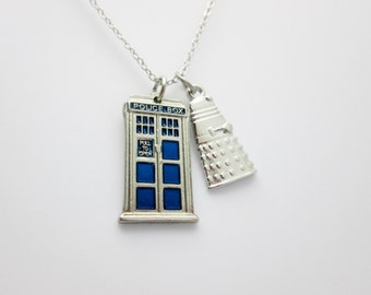 Tardis Necklace, Doctor Who Jewelry Fan Art, Tardis and Dalek Charm Necklace, Blue Tardis Police Call Box Necklace A003