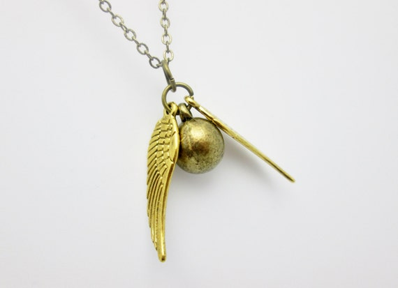 Snitch Necklace, Golden Snitch Charm, Potter Fan Art Necklace, Antique Gold Snitch Ball and Wings, (B021)