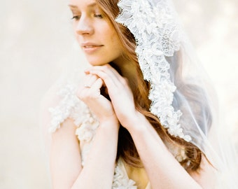 Wedding Veil, Lace Mantilla Veil, Lace Crystal beaded Bridal Veil, Chapel Veil - Style 302