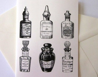 Vintage Perfume Bottle Note Cards Set of 10 with Matching Envelopes