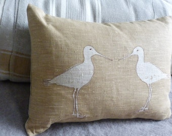 hand printed soft gold linen wading bird cushion