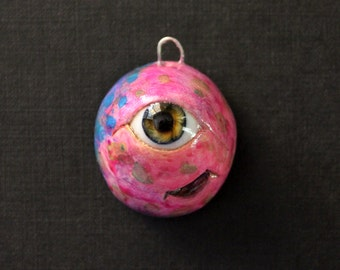 creepy cute alien cyclops pendant - handmade ooak