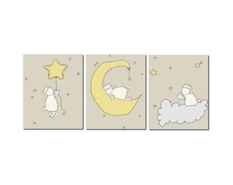 Lamb Nursery Art Prints -- Neutral Nursery Decor -- Lamb Moon and Stars Art -- Set Of 3 Prints -- Kids Wall Art