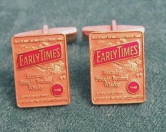 Early Times Cuff Links Enamel Whisky Liquor Advertising