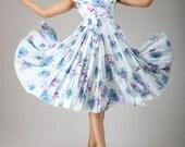 Misty rain -- Tiered styling print dress midi dress cotton dress (644)