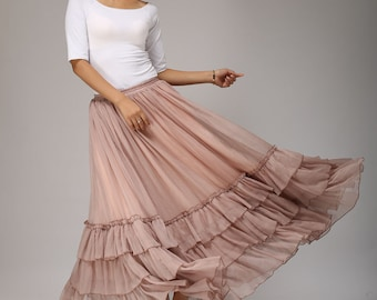 layered skirt, bohemian skirt, maxi skirt, long chiffon skirt, flared skirt,blush pink skirt, tiered skirt, Custom made skirt,Fall skirt 663