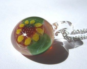 ON SALE - Glass Sunflower Pendant - Glass Sunflower Necklace - Glass Sunflower Jewelry- Handmade by FireGoddessGlass - Free Shipping