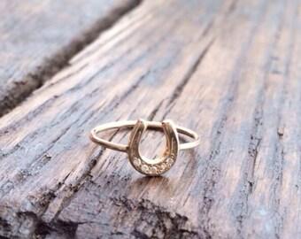 Horseshoe Ring, Gold Horseshoe Ring, Diamond Horseshoe, Lucky Horseshoe, Chinese Astrology, Year of the Horse, Horse, Good Luck, Grad Gift
