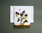 Violas or Johnny Jump Ups with bees, greeting card, no.1089