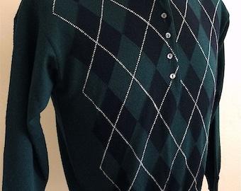 Vintage Men's 80's Sweater, Brooks Bros, Green, Argyle, Wool (S)