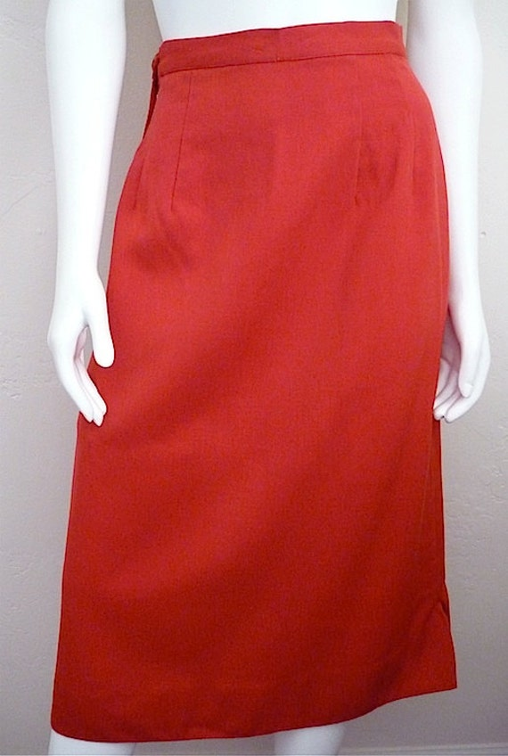 Vintage Women's 80's/40's Pencil Skirt, Red, Fully Lined, Over The Knee (S/M)