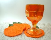 Pumpkin Coasters, Orange Cotton Crochet Coasters Set of 4, Fall, Harvest, Thanksgiving Decor, Ready to Ship