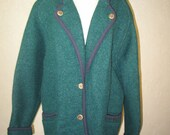 1980's Geiger Austria boiled wool forest green navy trim wood button walking coat jacket 38