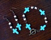 Turquoise Cross Bracelet and Earrings