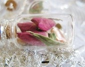 6 Elegant Jar Necklaces  - Roses & Mother of Pearl with Sterling Silver Chains - Garden Wedding Party