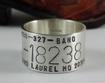 Duck Band Ring - Hand Stamped Sterling Silver Bird Band Ring