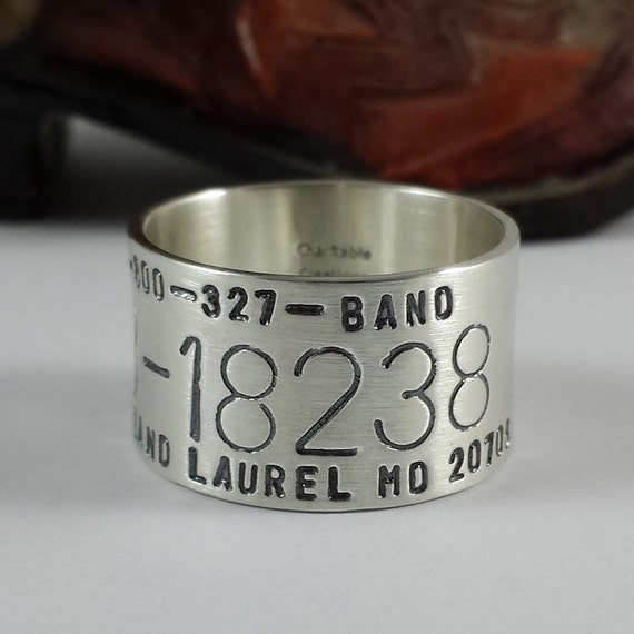 Duck Band Ring Hand Stamped Sterling Silver Bird Band Ring
