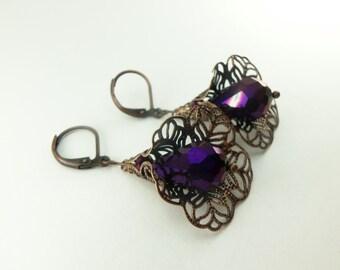 Dark Purple Dangle Earrings Copper Dangle Earrings Royal Purple Earrings Metallic Antiqued Copper