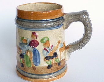 Vintage Beer Stein / German Relief Art / Oktoberfest / Large mug / for your Man cave / Blue and Orange / Home Decor / pint