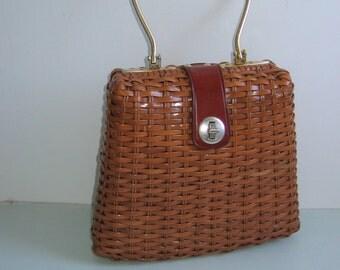Tan Plastic coated straw Purse. Made in British Hong Kong.  Gold metal handle.  Original Vintage 1950, 1960.
