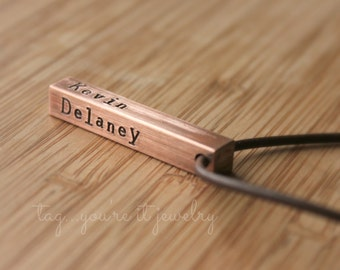 Men's necklace with kids names, copper 7 year anniversary gift, gift for husband or dad with up to four names