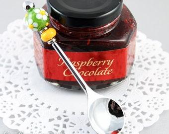 Stainless Steel Jelly Spoon, Handmade Lampwork Glass Beads, White Daisy, Green, Yellow