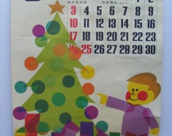 Vintage December 1972 calendar poster Vintage Christmas