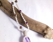 Purple Drusy Agate and Rainbow Hematite Macramé Necklace