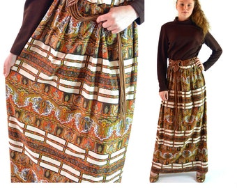 Vintage 60s Mod MAXI DRESS Bohemian Dress 60s Paisley Long Sleeve Hostess Dress Hippie Festival Dress High Waist Full Skirt Maxi L / Xl