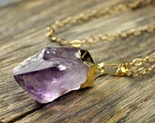 Easter SALE 10% Off - Amethyst Point Raw Crystal Gold Necklace, 14k Gold Fill, One of a Kind