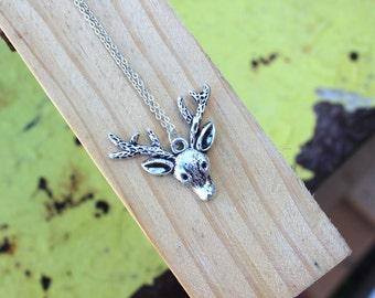 Oh Deer, Silver Reindeer Necklace.