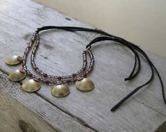 Statement Boho necklace with Menorah Coin and Smoky quartz