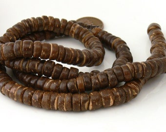 Full Strand 8mm Brown Coconut Rondelle 16-Inch Strand