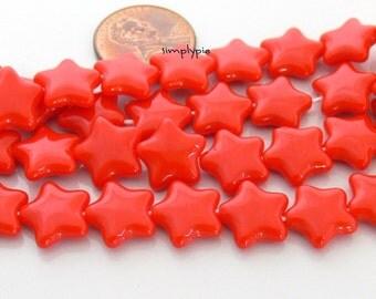 Vermillion Red/Orange Star Czech Beads 12mm 12 Glass Stars