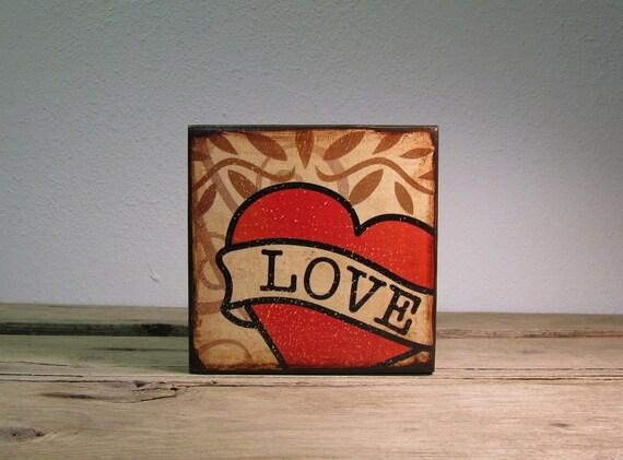 Retro Tattoo Art Love Heart Wood Block Painting -- MatchBlox-1711