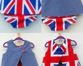 Baby/Toddler Reversible Union Jack Open Back Baby Top and Matching Ruffle Bum